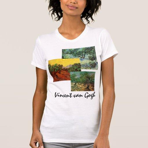3 different Van Gogh Olive Grove Trees Vintage Art Tee Shirt