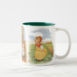 3 different Vintage Nursery Rhymes by Mary LaFetra Two-Tone Coffee Mug