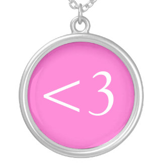 <3 : digital heart silver plated necklace