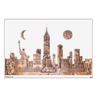 3-DIMENSIONAL COPPERPLATE CITY SCAPE NY WALL DECAL