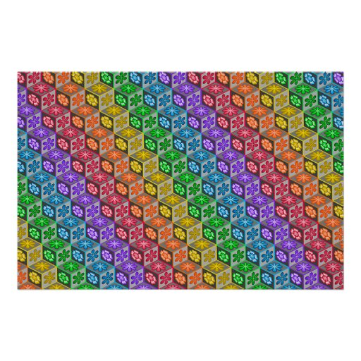 3 Dimensional Cubes Poster