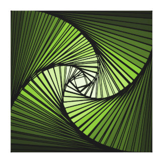 3 dimensional spiral green stretched canvas print