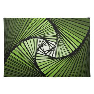 3 dimensional spiral green cloth place mat