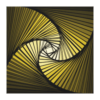 3 dimensional spiral yellow stretched canvas prints