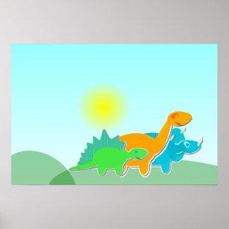 3 Dinosaur Friends Poster