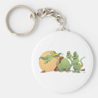 3 dinosaurios amistosos llavero redondo tipo pin