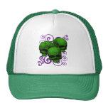 3 diseño verde del remolino de los cráneos w/Purpl Gorras