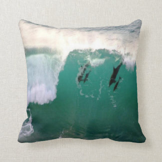 #3-dolphins-catching a wave throw pillow