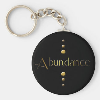 3 Dot Gold Block Abundance & Black Background Keychain