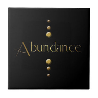 3 Dot Gold Block Abundance & Black Background Small Square Tile