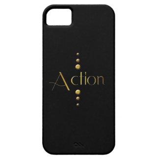 3 Dot Gold Block Action & Black Background iPhone SE/5/5s Case
