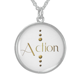 3 Dot Gold Block Action Sterling Silver Necklace