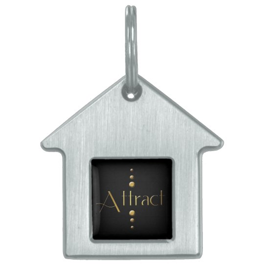 3 Dot Gold Block Attract & Black Background Pet Tag