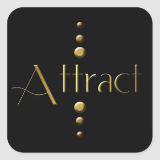 3 Dot Gold Block Attract & Black Background Square Sticker