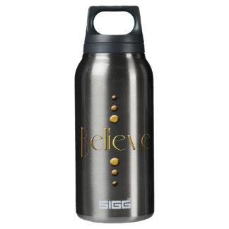 3 Dot Gold Block Believe & Black Background Insulated Water Bottle