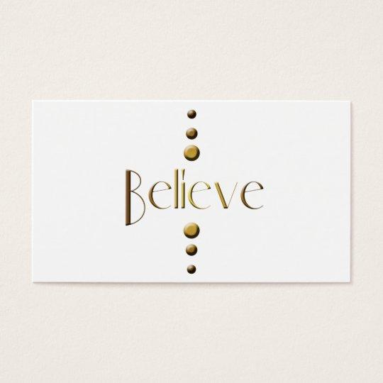 3 Dot Gold Block Believe Business Card