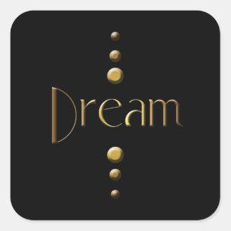 3 Dot Gold Block Dream & Black Background Square Sticker