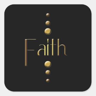 3 Dot Gold Block Faith & Black Background Square Sticker