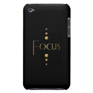 3 Dot Gold Block Focus & Black Background Barely There iPod Case