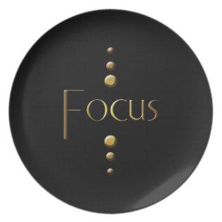 3 Dot Gold Block Focus & Black Background Melamine Plate
