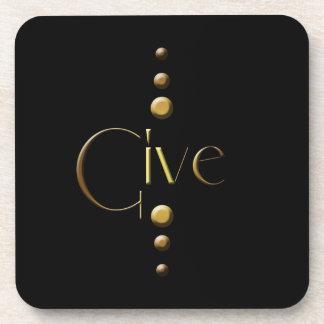 3 Dot Gold Block Give & Black Background Beverage Coaster