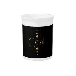 3 Dot Gold Block Goal & Black Background Beverage Pitchers