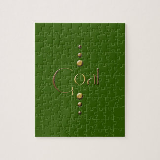 3 Dot Gold Block Goal & Green Background Jigsaw Puzzle