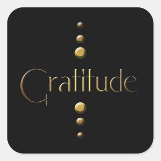 3 Dot Gold Block Gratitude & Black Background Square Sticker
