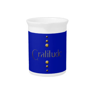 3 Dot Gold Block Gratitude & Blue Background Pitcher