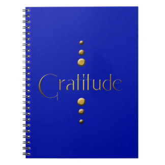 3 Dot Gold Block Gratitude & Blue Background Spiral Notebook