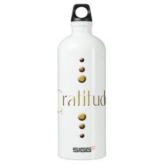 3 Dot Gold Block Gratitude & Blue Background Water Bottle