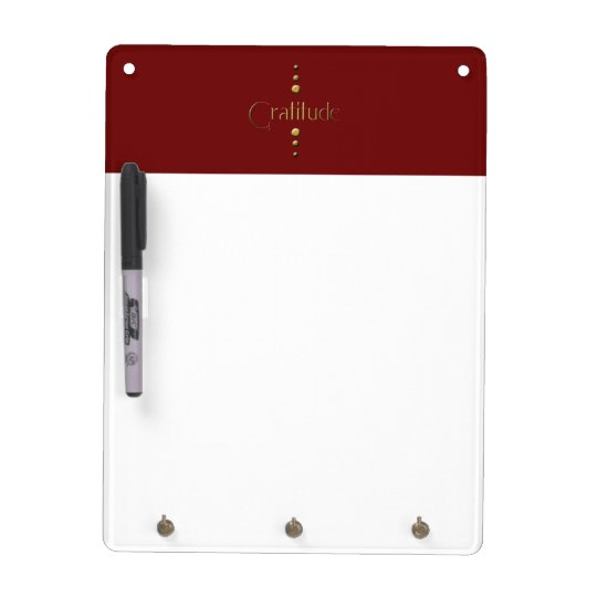 3 Dot Gold Block Gratitude & Burgundy Background Dry-Erase Board