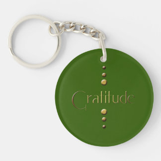 3 Dot Gold Block Gratitude & Green Background Keychain