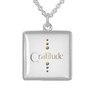 3 Dot Gold Block Gratitude Sterling Silver Necklace