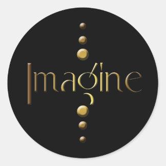 3 Dot Gold Block Imagine & Black Background Classic Round Sticker