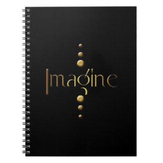 3 Dot Gold Block Imagine & Black Background Notebook