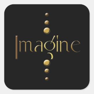 3 Dot Gold Block Imagine & Black Background Square Sticker