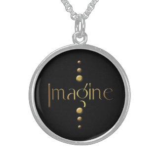 3 Dot Gold Block Imagine & Black Background Sterling Silver Necklace