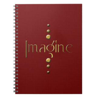 3 Dot Gold Block Imagine & Burgundy Background Spiral Notebook