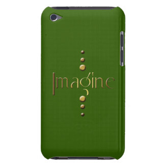 3 Dot Gold Block Imagine & Green Background iPod Touch Cover