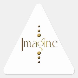 3 Dot Gold Block Imagine Triangle Sticker