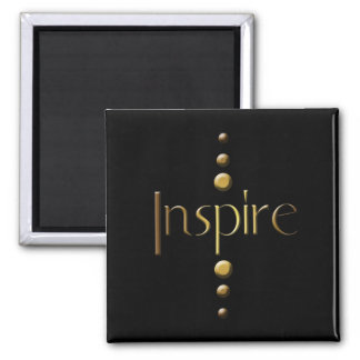 3 Dot Gold Block Inspire & Black Background Magnet