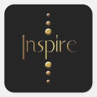 3 Dot Gold Block Inspire & Black Background Square Sticker