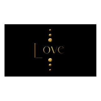 3 Dot Gold Block Love & Black Background Double-Sided Standard Business Cards (Pack Of 100)