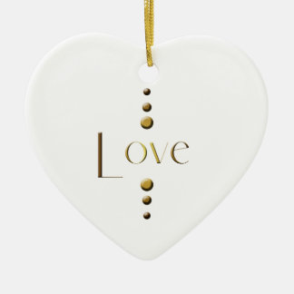 3 Dot Gold Block Love Ceramic Ornament