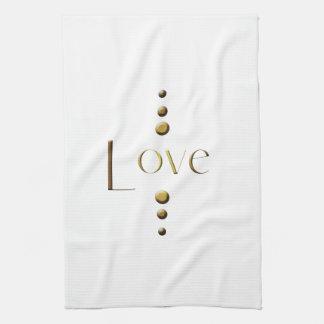 3 Dot Gold Block Love Kitchen Towels