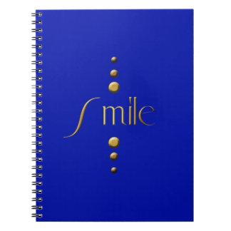 3 Dot Gold Block Smile & Blue Background Spiral Notebook