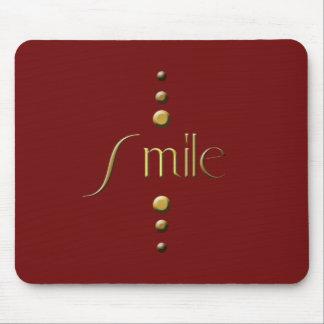 3 Dot Gold Block Smile & Burgundy Background Mouse Pad