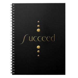 3 Dot Gold Block Succeed & Black Background Spiral Notebook
