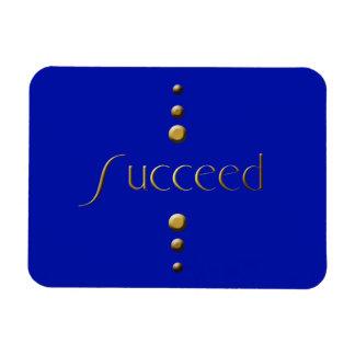 3 Dot Gold Block Succeed & Blue Background Magnet
